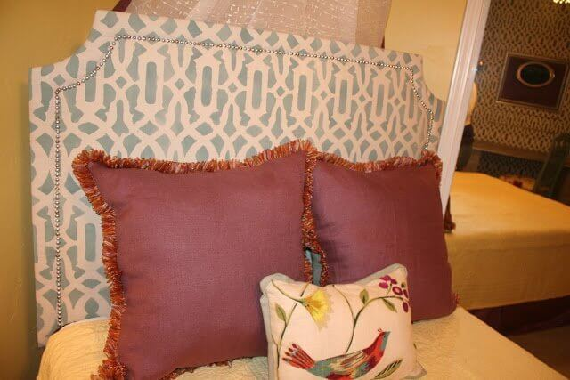 DIY Upholstered Headboard, with Stenciled Fabric